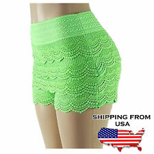 Plus Size Lady's Womens Lace Crochet Shorts Elastic Waist Mini HOT Pants Short