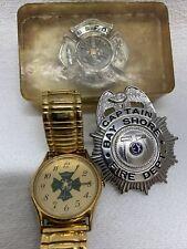 Vintage Lot(2) Bay Shore Fire Dept. Memoribilia Plus 2005 Captain Badge