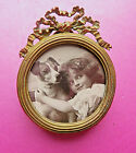 ANTIQUE+BRASS++MINIATURE+OPEN+WORK++BOW+TOP+PICTURE+FRAME.+STAND+OR+WALL+HANG.