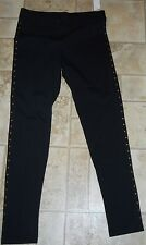 NWT!   CUTE JUNIORS WOMENS ELLE BLACK TIE KNIT LEGGINGS PANTS, SIZE S SMALL