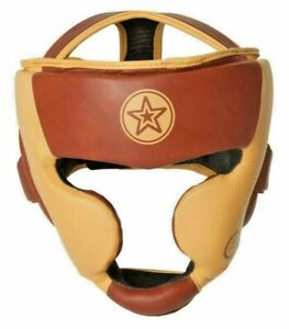 TOP TEN LEATHER FULL Heritage Headgear w Cheek Chin protection 3X SAfety feature