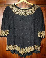 Vtg. Kazar beaded blouse top Sequin Gold  Party M/l