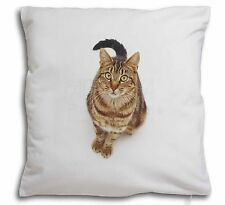 Brown Tabby Cat Soft Velvet Feel Cushion Cover With Inner Pillow, AC-160-CPW