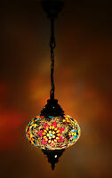 Turkish Moroccan Style Mosaic Multicolour Hanging Lamp Light Large Globe