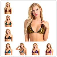 Women's Push Up Mermaid Bra Top Shiny Metallic Bikini Bralett Swimwear Bathing