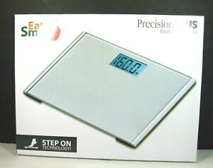 Eat Smart BATHROOM SCALE Precision Plus Digital LCD 440 lbs Silvertone & Box