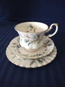 Royal Albert Brigadoon Trio Teacup Saucer Plate Bone China Blue Thistle