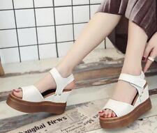 2018 Summer Fashion Womens Wedge White Sandals Platform Open Toe Korean Shoes