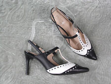 M & S Collection Size 5 Leather Stiletto Heel T-Bar Slingback Shoes Black White