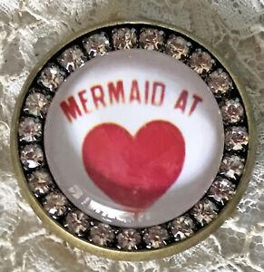MERMAID AT HEART Glass Rhinestone BROOCH Scatter Lapel Pin Sea Beach Lover Gift