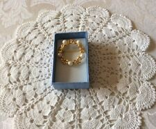 Gold tone and pearl brooch in new blue gift box