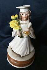 Schmid Musical Porcelain Girl in Gown & Cap Plays Pomp & Circumstance