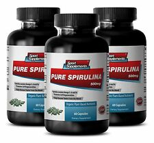 Organic SPIRULINA 500mg - 100% Plant-Based Dietary Powder Nature Vitamin-C  3Bot