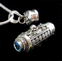 Handmade 925 Sterling Silver Poison Pill Prayer Box/Urn Pendant Blue Topaz BALI