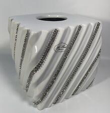 BELLA LUX NEW!!! White Kleenex TISSUE Swirl Rhinestone Bathroom Vanity Glam Lux