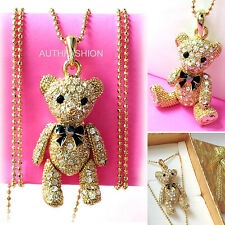 New Teddy Bear Gold Color Kids Chilren Pendant Necklace with Free Gift Box