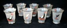 Set Of 8 Art Deco Era Glasses With Sailboat Design and Silver Trim