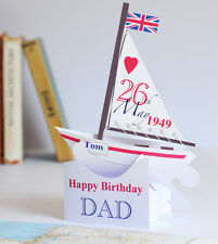 Personalised Pop-up Sailing Boat Card for Dad's Birthday.