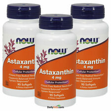 3 x NOW Astaxanthin 4 mg 90 Softgels, Potent Antioxidant, FRESH, Made In USA