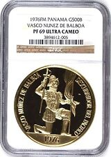 Panama 1976 Large Gold Coin 500 Balboas Vasco Nunez de Balboa NGC PF69 UC