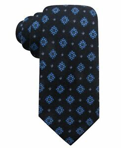 Tasso Elba Men's 3.25'' Wool Medallion Pattern Neck Tie, Navy Blue, One Size