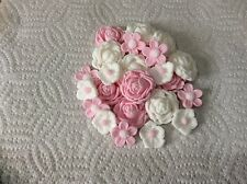 sugarpaste Roses flowers 24 pink white cake toppers decorations