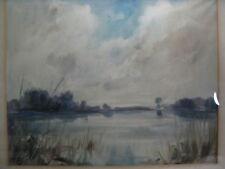 Mühlen Fritz 1906-1981 großes Aquarell Gewässer / Wasser / See Landschaft