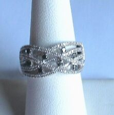 .925 Sterling Silver, .50ct. Black & White DIAMOND Ring, Size 7, New With Tags