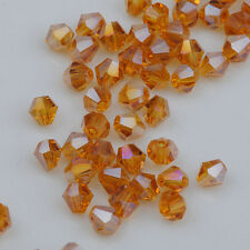 300pcs AB Amber Crystal 4mm #5301 Bicone Beads loose beads ^Free Shipping @2