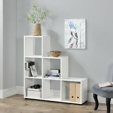 en.casa® Treppenregal 6 Fächer Weiß Raumteiler Stufenregal Bücherregal Regal