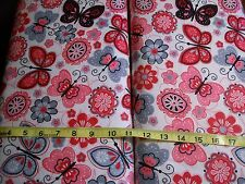 BTY B166 Butterfly Flowers Hot pink grey on white Flannel Material New
