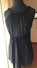 BCBG MAX AZRIA Size M Black Evening Acetate  Jersey Top With Belt