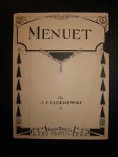 Menuet Sheet Music Vintage 1933 J J Paderewski Piano Solo Morris Music (O) AS IS
