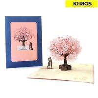 New 3D Pop Up Love Greeting Card Valentine Wedding Birthday Cherry Blossom Lover