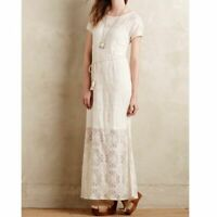 Lilka Anthropologie Size S Bellflower Lace Tassel Tie Maxi Dress Ivory Cream