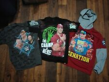 John Cena WWE Wrestling WWF lot of 3 Tank Top Jersey Shirt T's GS Boys XL 14/16