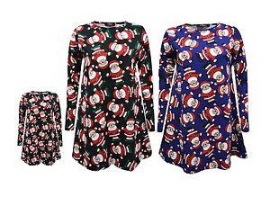 New Ladies Kids Xmas Santa Print Dress Mother & Daughter Girls Christmas Dresses
