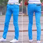 New Mens Casual Slim Fit Denim Pants Cotton Skinny cotton straight leg trousers