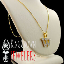"10K Real Gold Genuine Diamond Initial Letter Alphabet ""W"" Mini Pendant + Chain"