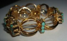 Egyptian HM Hallmarked 14ct 14k Gold Articulated Turquoise Panel Bracelet