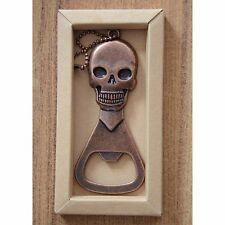 "SKULL BOTTLE OPENER Antiqued Copper-tone Metal 4"" x 1-3/4"" Key Ring"
