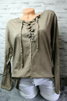 Italy Shirt Pulli 36 38 40 Pullover Nieten taupe Vintage Schnürung blogger NEU