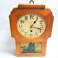 Junghans Antique Art Nouveau Bracket Mantel Shelf Wall Clock Blue Painted Scene