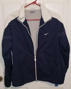 Nike Women's Retro 90's Jacket Size Small (4-6) Zip Up Jacket Blue and White