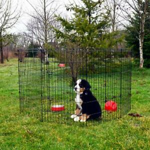 Dog Exercise Pen Cage with Stakes Heavy Duty Indoor Outdoor Steel 36 Inch High
