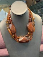 """Vintage Bohemian Three strand seed Bead Amber Luso glassBeaded necklace 18"""""""