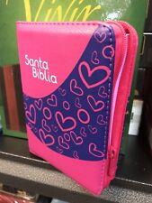 Biblia Pequeña Reina Valera 1960  Niñas Rosa Azul Con Cierre