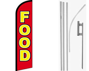 Food Red / Yellow Windless Banner Flag & 16ft Flagpole Kit /Ground