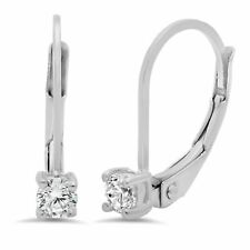 0.5 ct Brilliant Round Drop Dangle Leverback Earrings Real Solid 14k White Gold