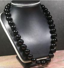 huge Natural 12mm Black AGATE JADE Bead Beaded Necklace 18''